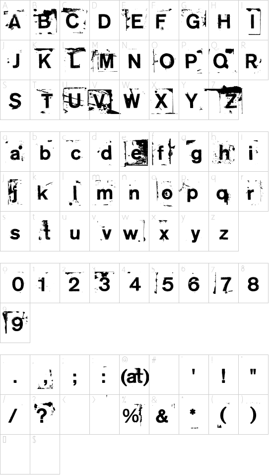 NeoPrint M319 font character map