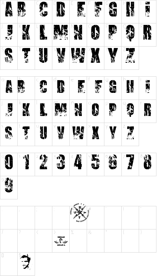 PROMISES BROKEN DREAM font character map