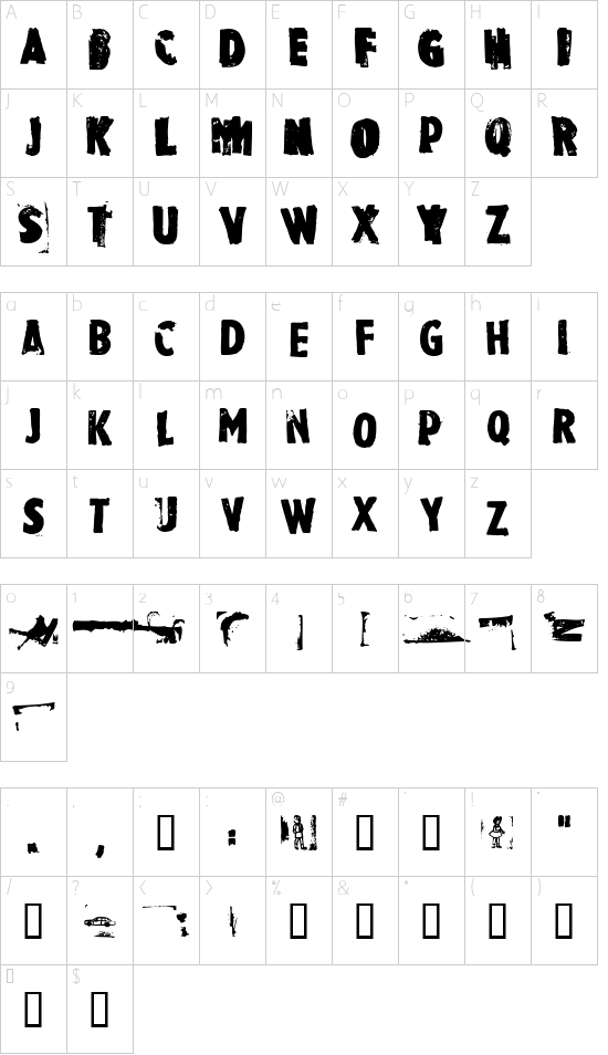 Rubbermaid Single font character map
