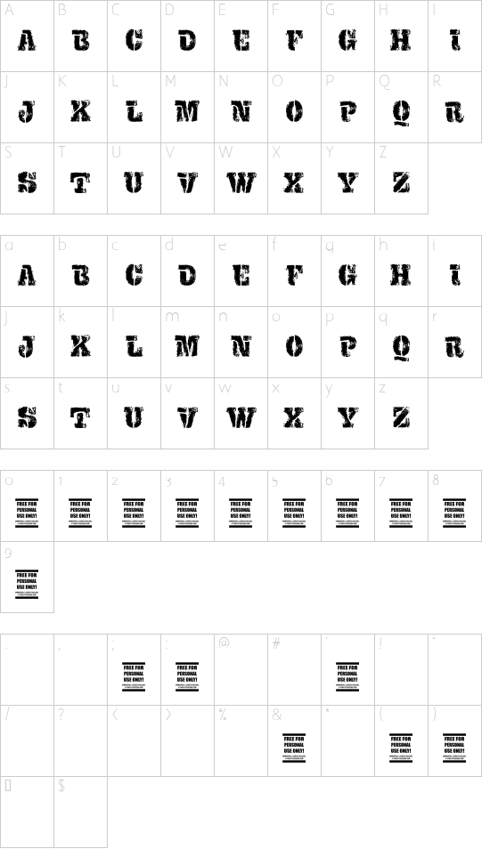 VTKS EXAME font character map
