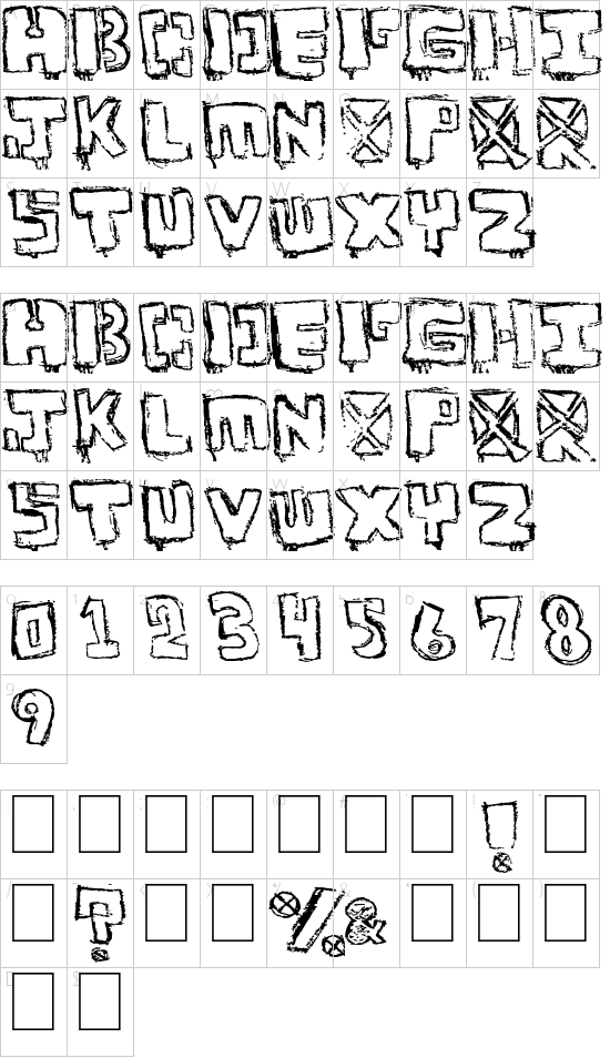 Your Font font character map