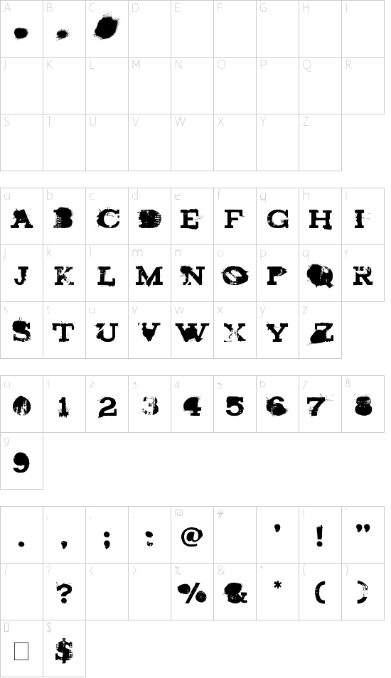 brand new burn font character map