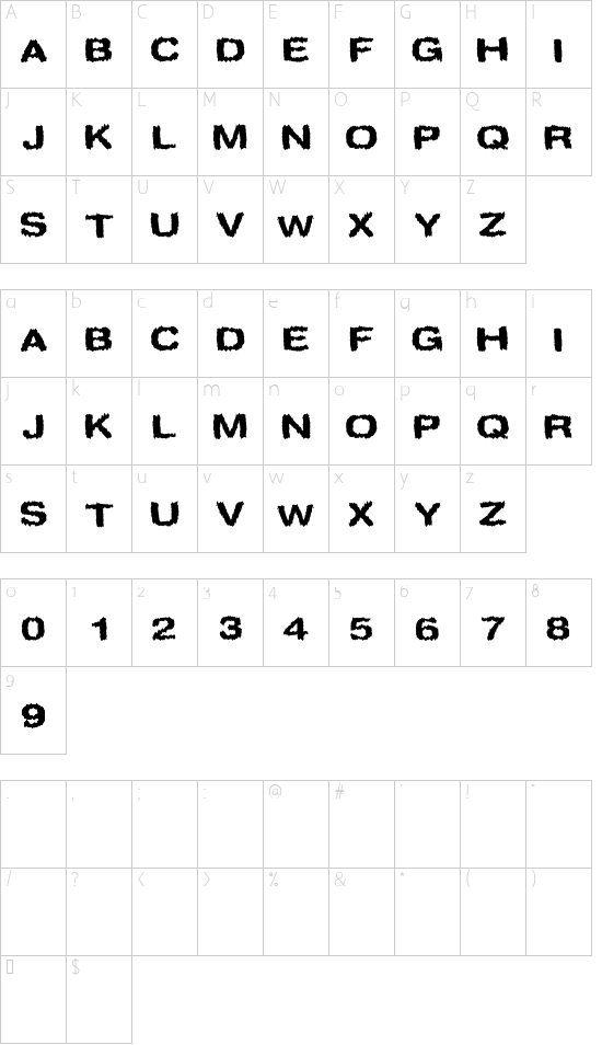 Spookies font character map