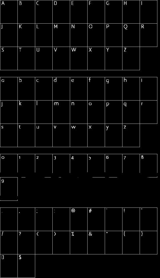 Brannboll Fet font character map
