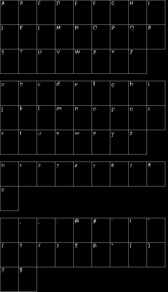 PompadourInitials font character map
