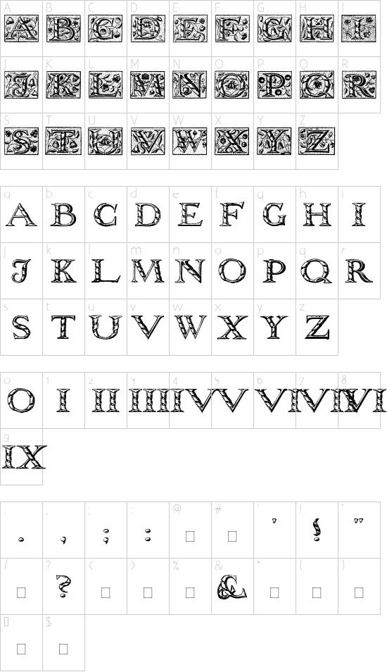 WolnoughCapitals font character map