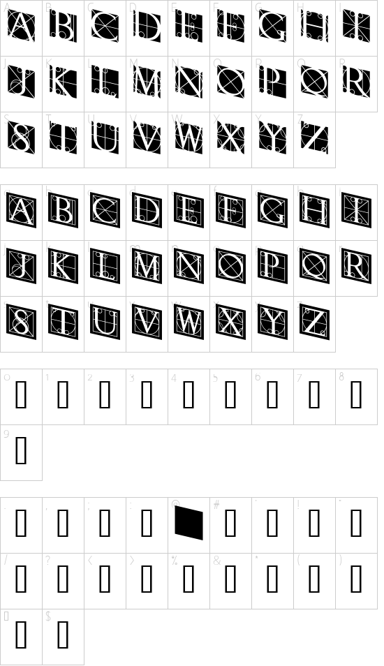 RodgauerThree font character map