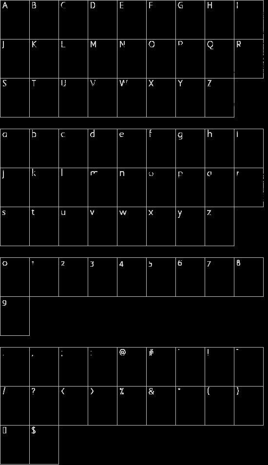 Doodlebears font character map