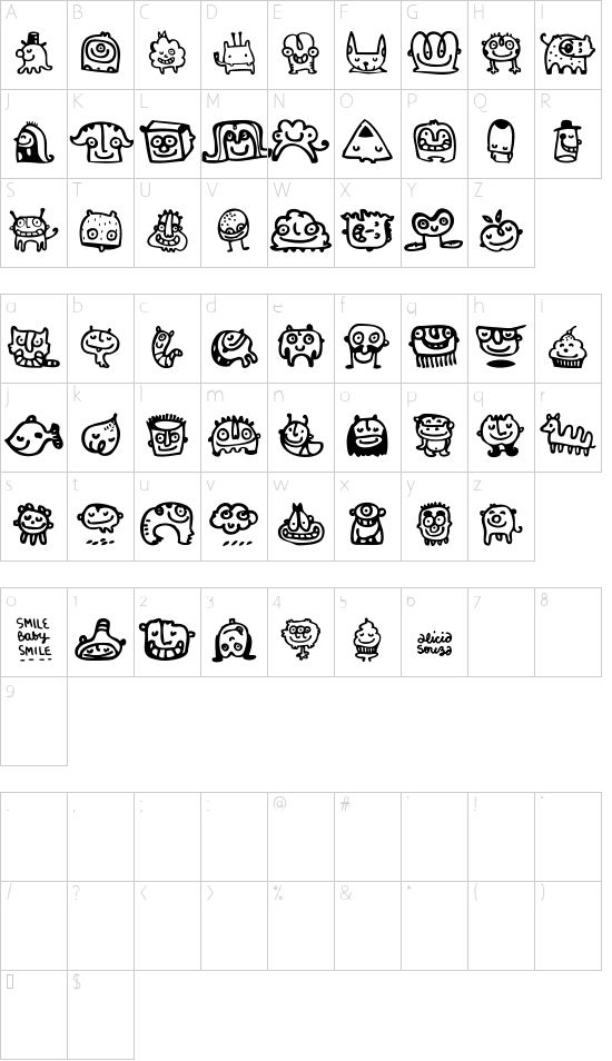 Smile Baby Smile font character map