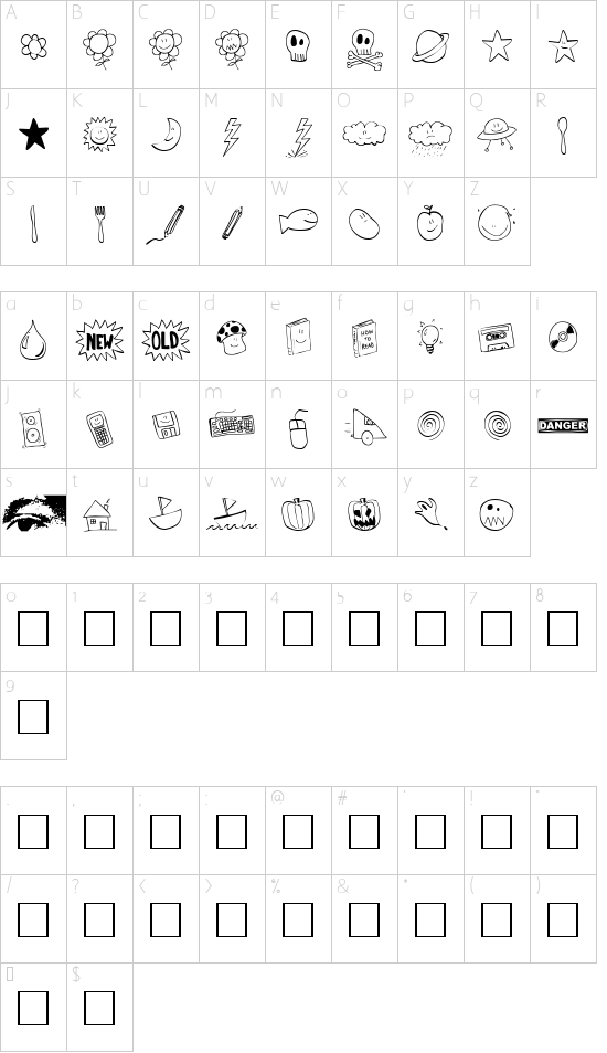 Tombats One font character map
