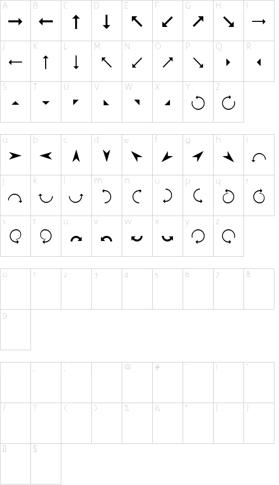 Arrows font character map