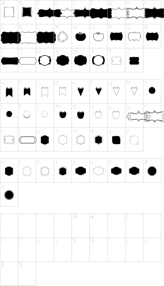 KG Flavor And Frames Four font character map