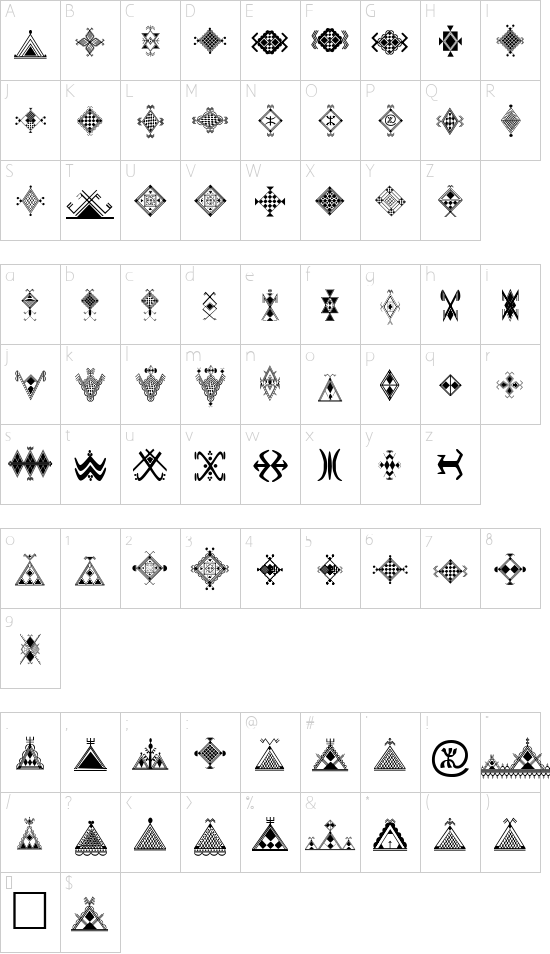 Amazigh Motifs font character map