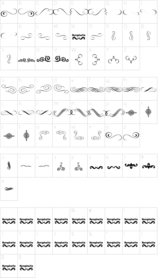 Nymphette font character map