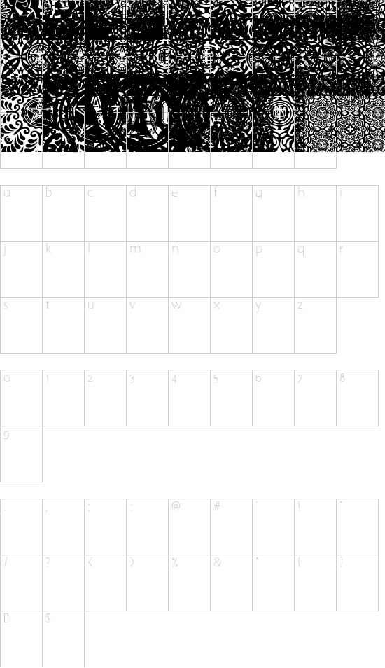 ObeyPatterns font character map