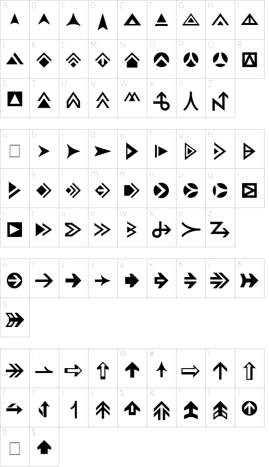 Pointers font character map