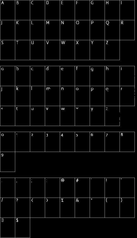 Split splat splodge font character map