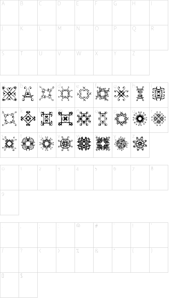 SVGfont 1 font character map