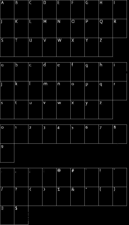 WC XXXplicit Bta font character map