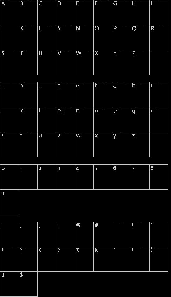 Modern Runic font character map