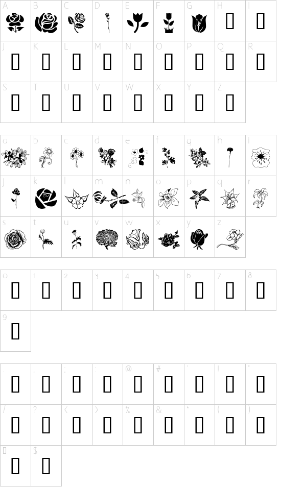 wmflowers1 font character map