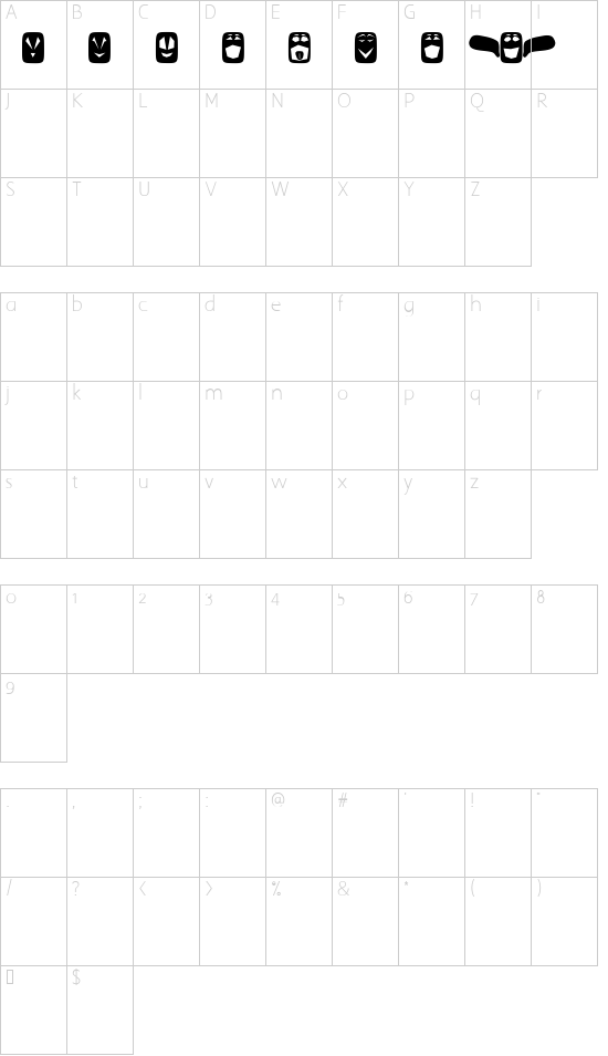 Ugly Faces font character map