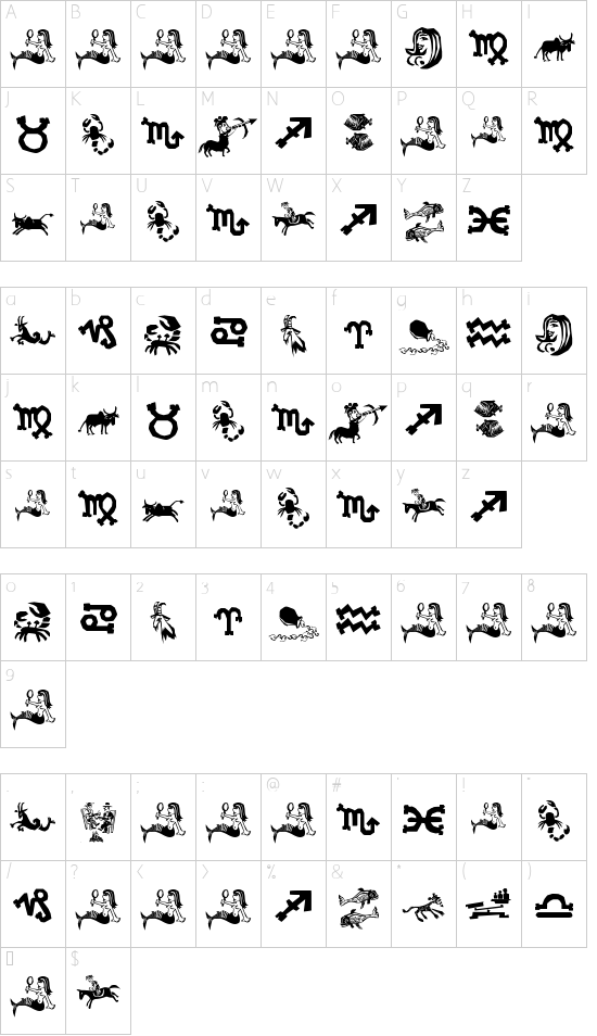 Xilo in Zodiac font character map