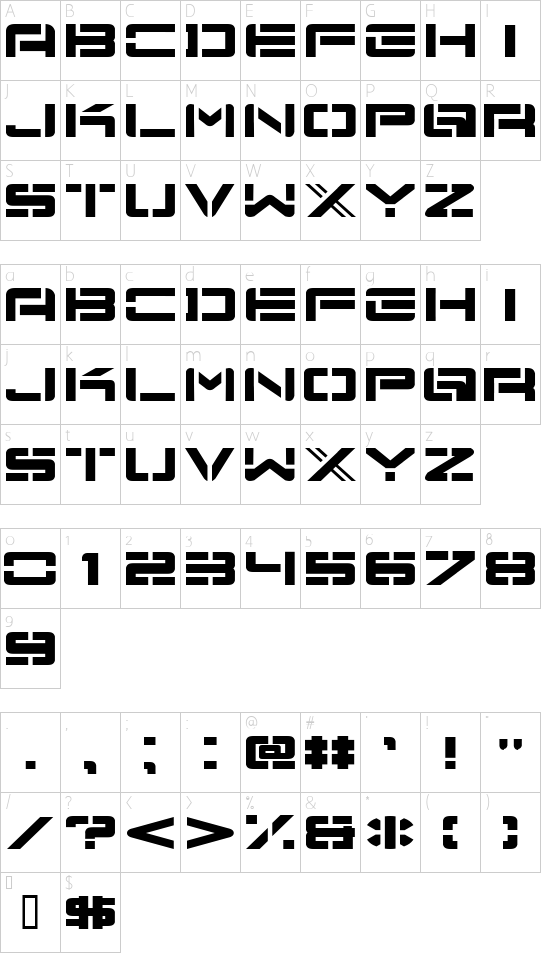 Nu School Munitions font character map