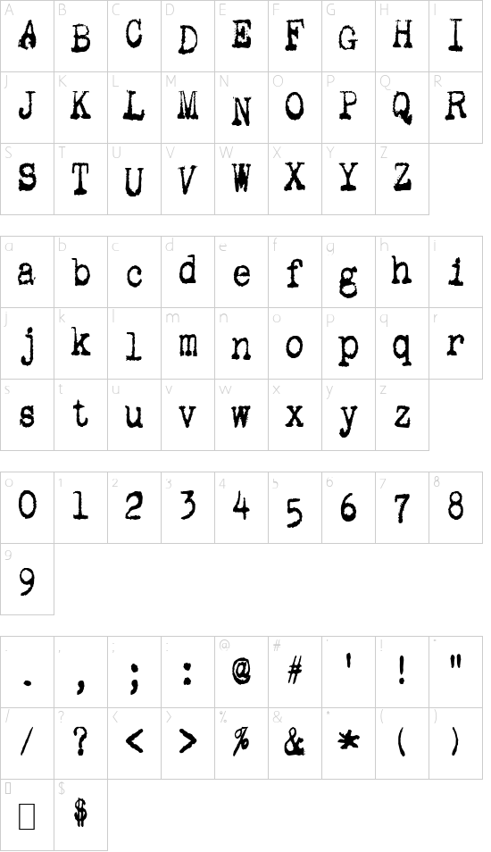 Gutter Vomit font character map