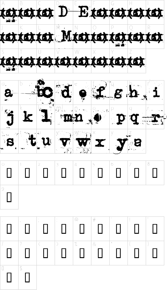 uncletypewriter font character map