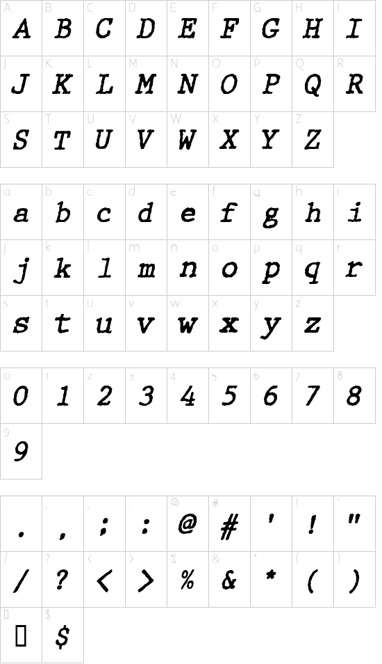 WBXGrannyT Italic font character map