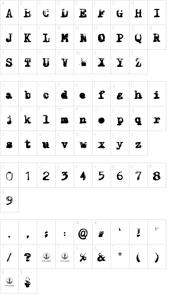X-Classified font character map