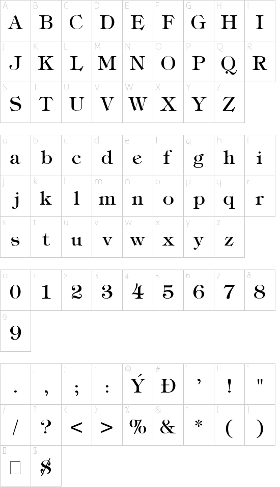 Tiffany font character map