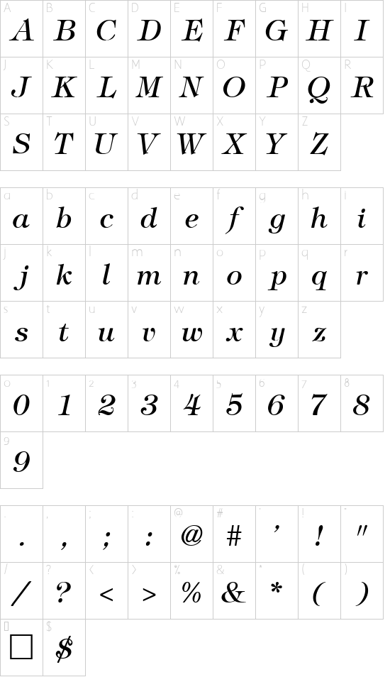 VNI-Timfani-Italic font character map