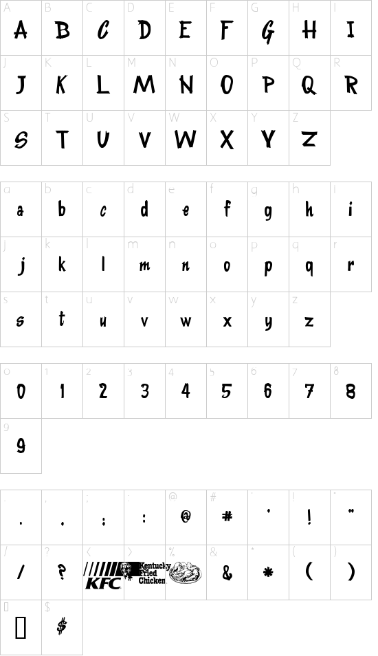KentuckyFriedFont font character map