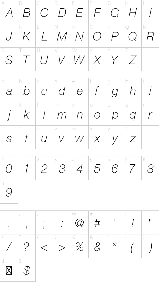Helvetica Neue LT Std 36 Thin Italic font character map