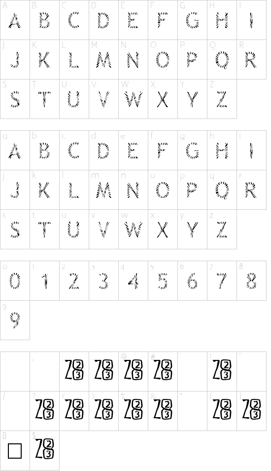 Zone23_Rayz font character map