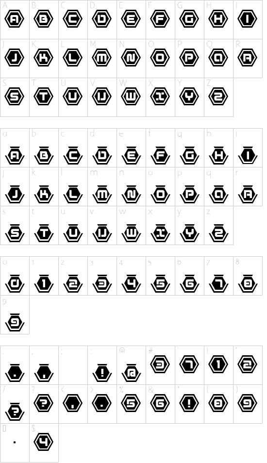 D3 Honeycombism Bold font character map