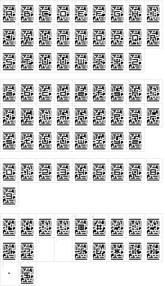D3 Guitarism font character map
