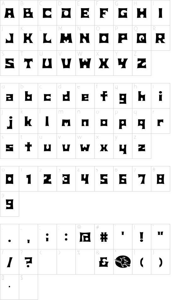 D3 Witchism font character map