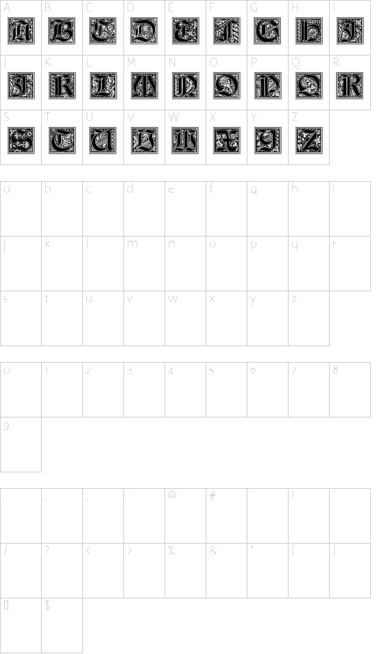 Gotische Initialen font character map