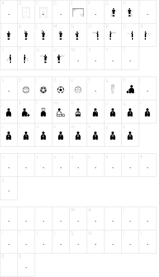 Trivia-Pict font character map