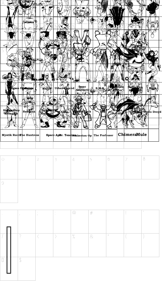 SPARKS Free for All font character map