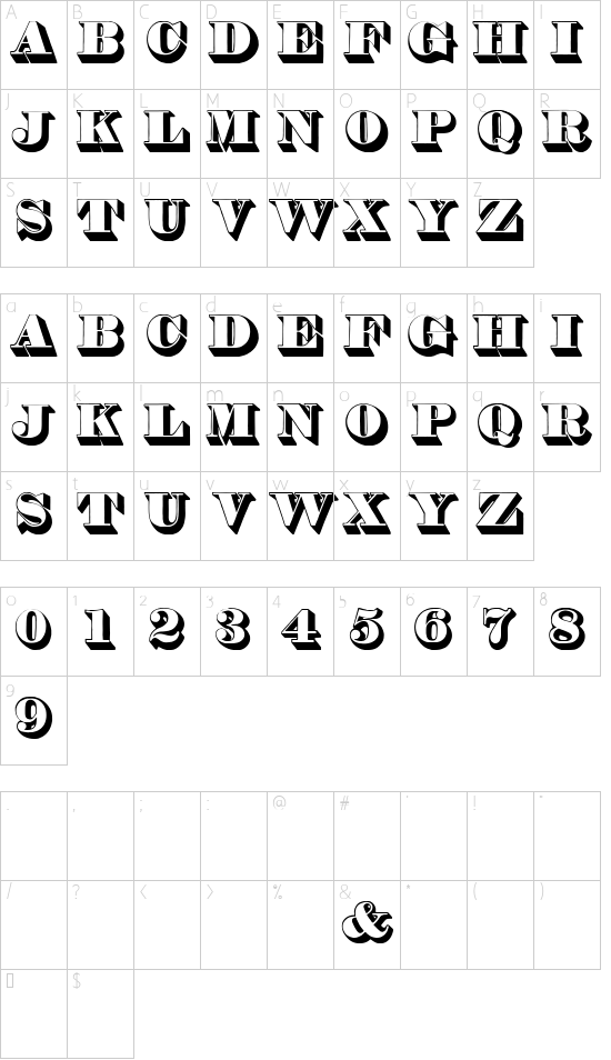 Thorne Shaded font character map