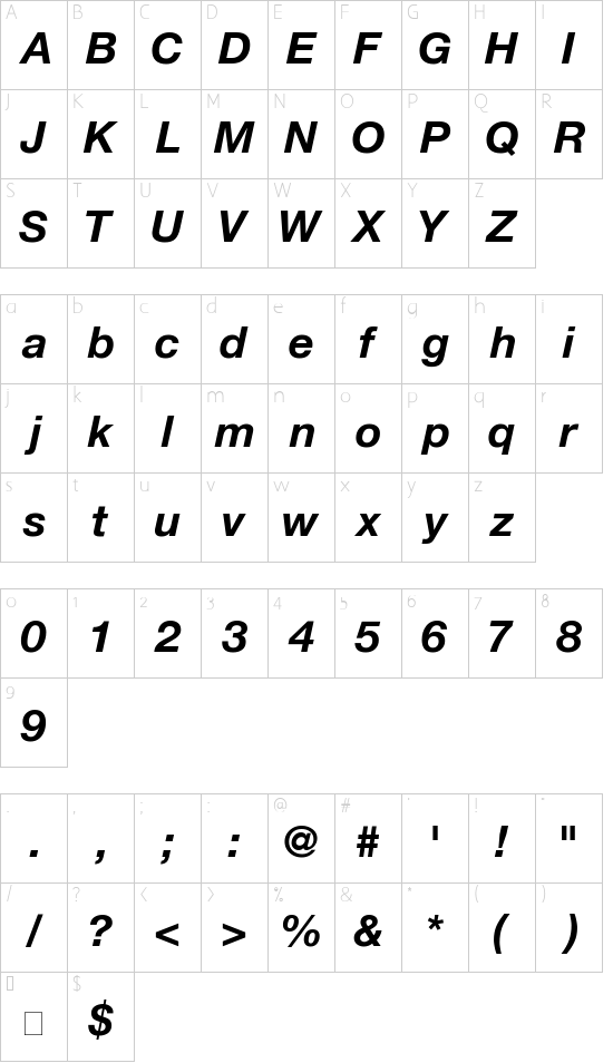 HelveticaNeue-BoldItalic font character map