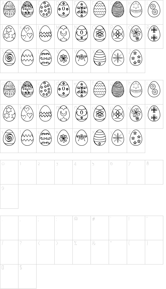 Easter eggs ST font character map