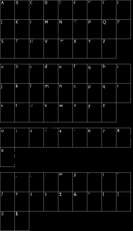 Super Street Fighter Hyper Fonting font character map