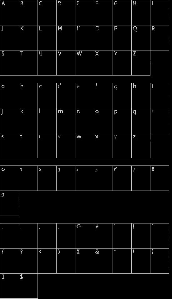 Game Logos font character map