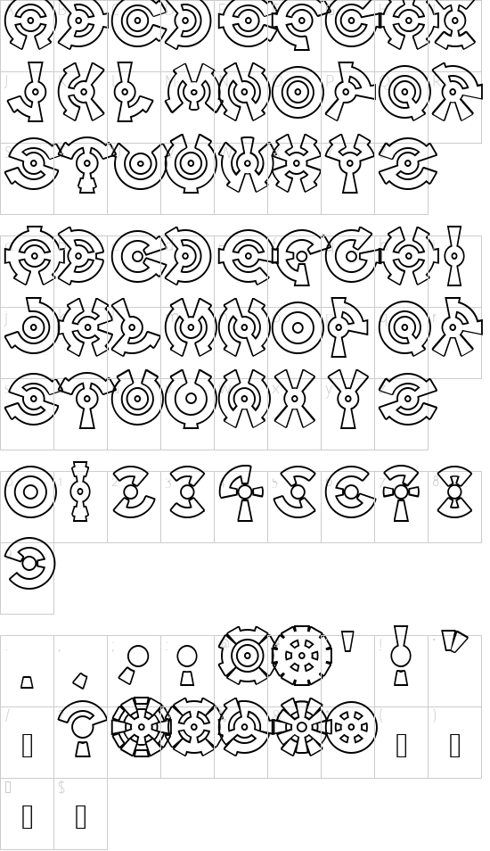 Anillo Outline font character map