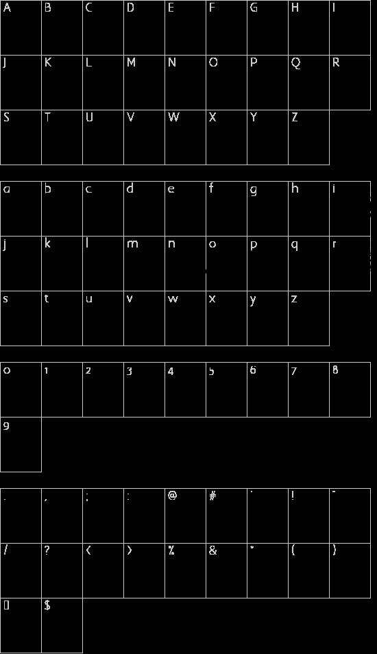 IdolsTwo font character map